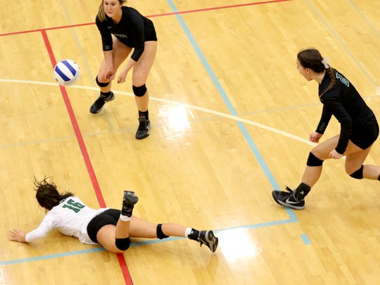 West Salem's Izzy Linares (16), Mattie Kelly (10) and Kasey Campbell (2) miss the ball in the OSAA Class 6A quarterfinal volleyball match of Clackamas vs. West Salem at Liberty High School in Hillsboro on Friday, Nov. 4, 2016. West Salem lost in four sets.