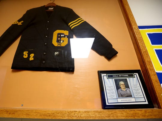 Jeannine James was the first inductee to the Gervais High School Hall of Fame, partly due to her commitment to keeping statistics and running the scoreboard for boy's and girl's basketball. She has continued to help several teams with statistics since she retired from the school in 2002. Photographed at Gervais High School on Tuesday, Nov. 15, 2016.