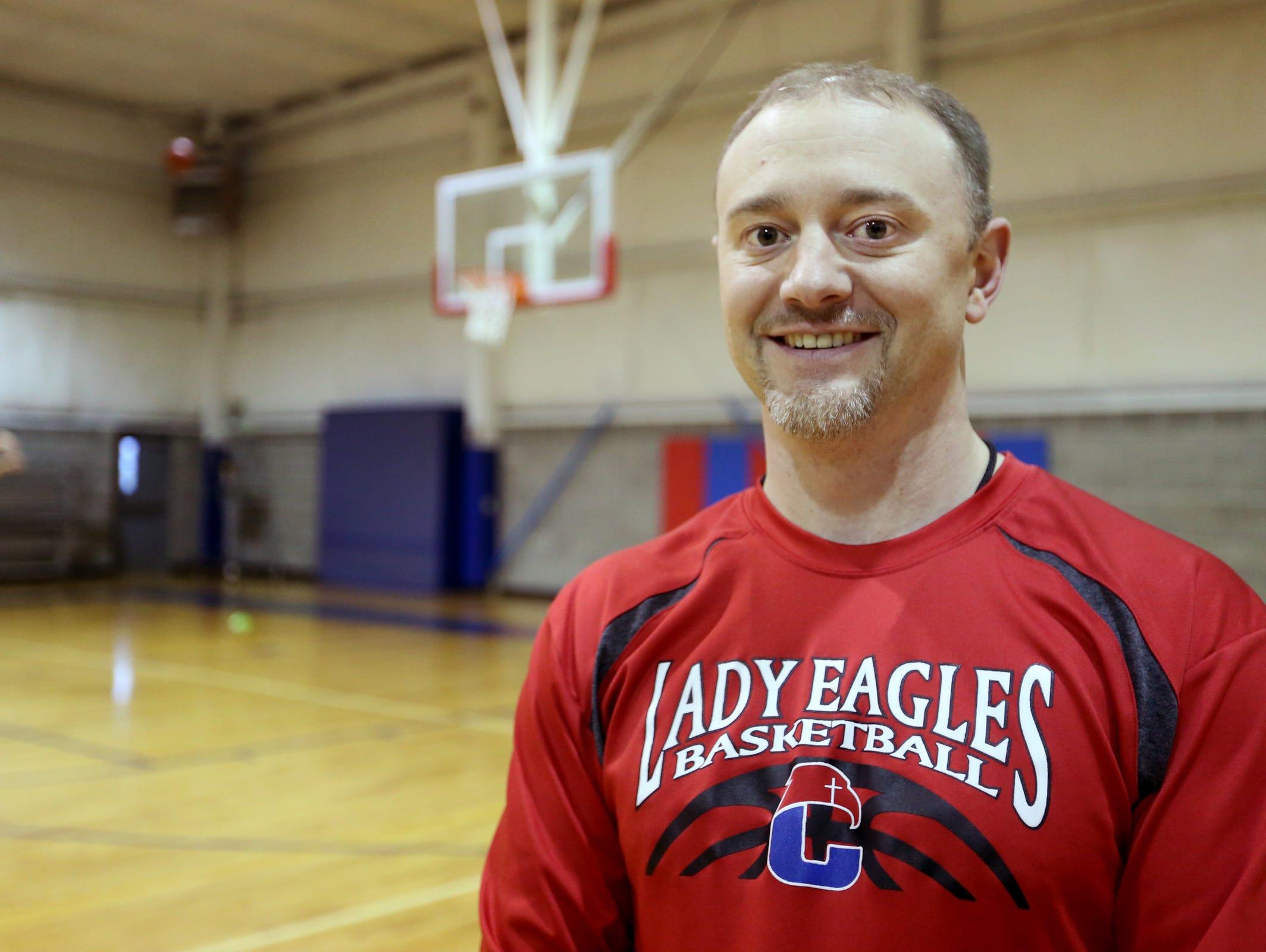 Crosshill Christian School girl's basketball coach Trever Ball on Tuesday, Dec. 13, 2016.