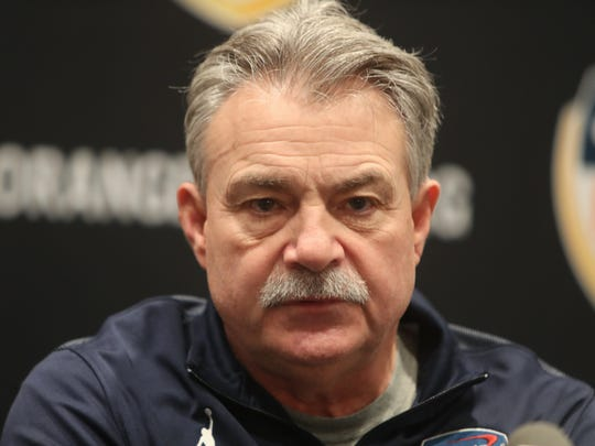 Michigan Wolverines defensive coordinator Don Brown talks with reporters Dec. 28, 2016 before the Orange Bowl against Florida State.
