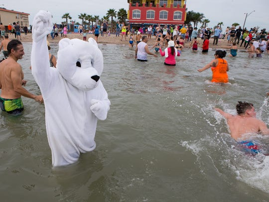 A polar bear mascot waves as participants return to shore after running into Corpus Christi Bay on North Beach as they take part in the Corpus Christi Polar Bear Plunge on Sunday, Jan. 1, 2017.