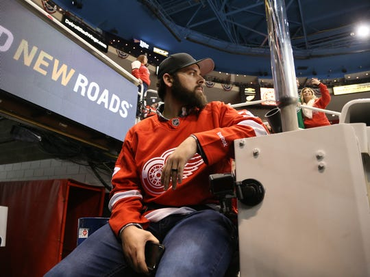 Detroit Tigers pitcher Michael Fulmer waits to ride the Zamboni between periods of the Red Wings-Bruins game Wednesday, Jan. 18, 2017 at Joe Louis Arena.