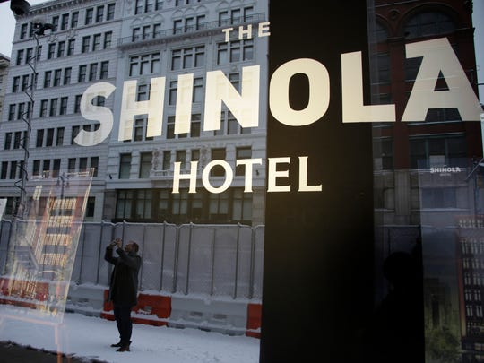 Founder and Chairman of Quicken Loans Dan Gilbert along with Shinola CEO Tom Lewand, formally break ground at the new Shinola Hotel location on Woodward Avenue in Detroit Tuesday Jan. 31, 2017.