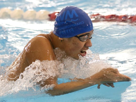 South Salem's Daisuke Fitial competes in the 200 yard individual medley during the OSAA Class 6A Swimming State Championships at Mt. Hood Community College in Gresham on Saturday, Feb. 18, 2017.