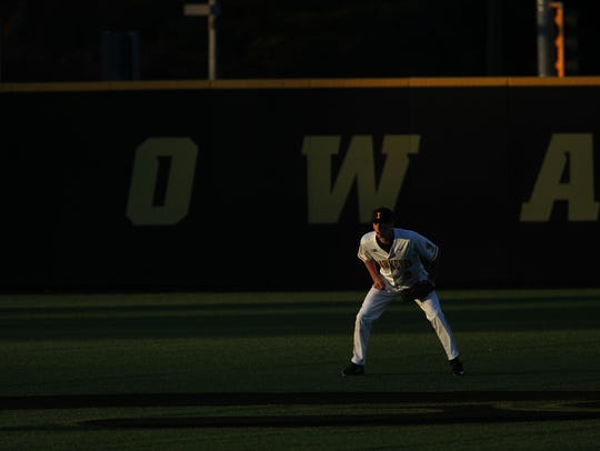 Iowa centerfielder Ben Norman waits for a pitch during