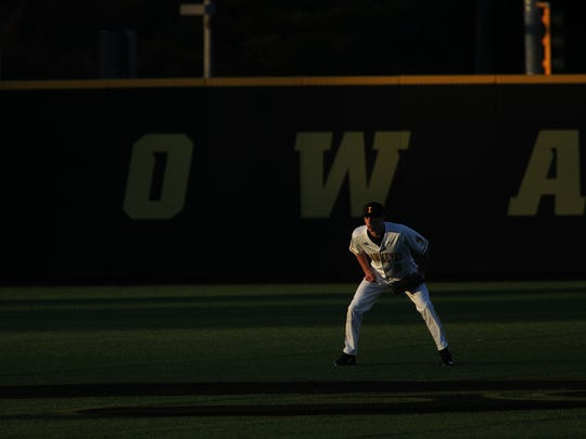 Iowa centerfielder Ben Norman waits for a pitch during the Hawkeyes' game against Loras College at Duane Banks Field on Wednesday, Feb. 22, 2017.