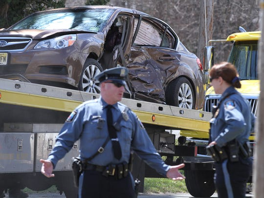 A Howell Township police officer was involved in a broadside collision with another vehicle at West Farms Road and Casino Drive in the township Wednesday afternoon, April 5, 2017.