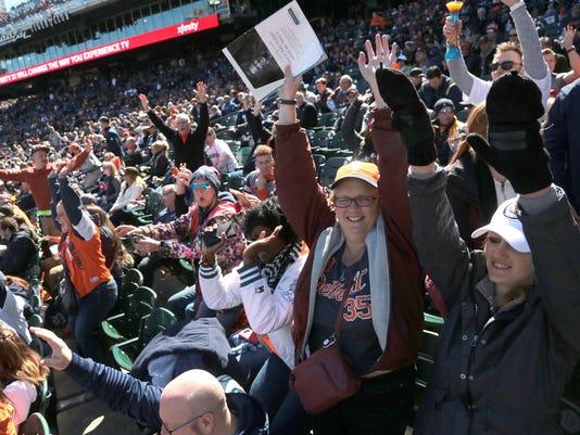Tigers fans, comerica park wave