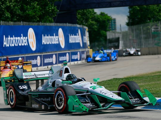 Simon Pagenaud takes a turn in the Chevrolet Dual in