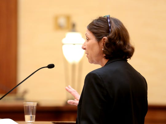 Janet Schroer, attorney for Marion County Circuit Judge Vance Day, speaks during a judicial fitness hearing regarding Day's conduct at the Oregon Supreme Court in Salem on Wednesday, June 14, 2017.