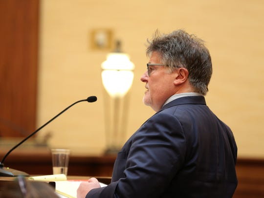Timothy Volpert, the attorney for the Commission on Judicial Fitness, speaks during a judicial fitness hearing for Marion County Circuit Judge Vance Day at the Oregon Supreme Court in Salem on Wednesday, June 14, 2017.