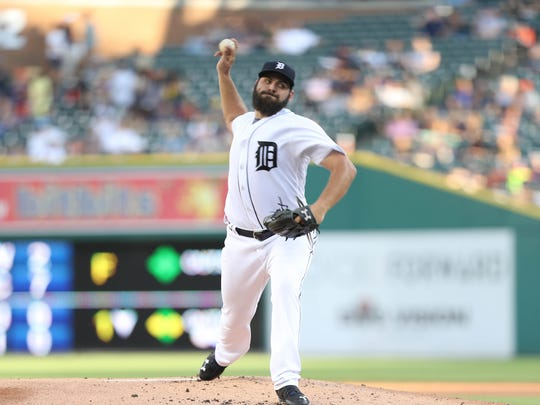 Tigers pitcher Michael Fulmer throws during the first inning on Tuesday, July 25, 2017, at Comerica Park.
