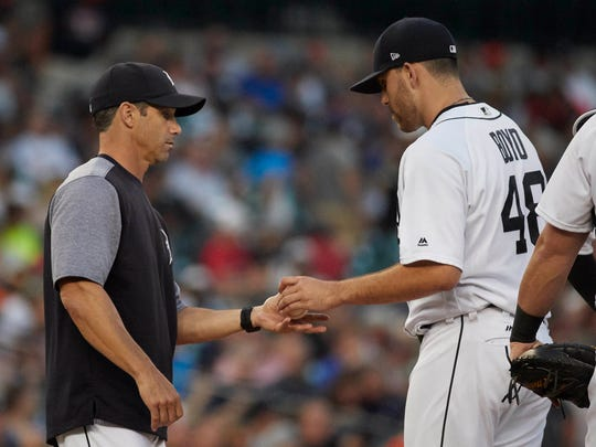 Aug 22, 2017; Detroit, MI, USA; Tigers manager Brad Ausmus relieves starting pitcher Matthew Boyd in the third inning against the Yankees at Comerica Park.