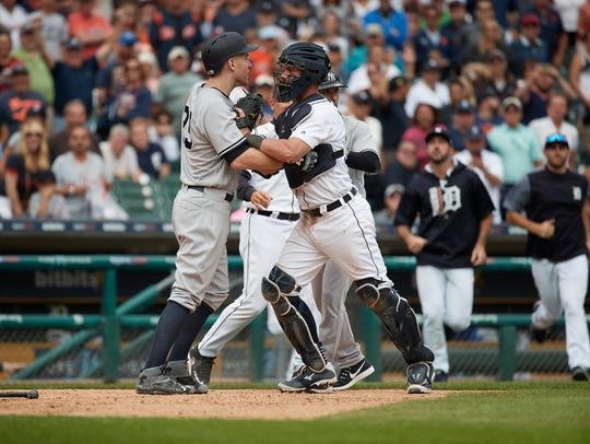 Tigers catcher James McCann prevents Yankees third