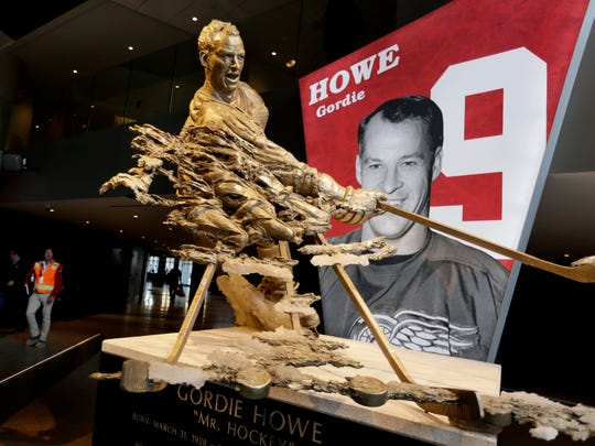 A statue of hockey legend Gordie Howe in the concourse at Little Caesars Arena in Detroit on Wednesday, Sept. 6, 2017.