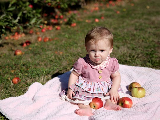 Abbey Redman, 6 months, sits as her mom, Holl Redman, of Silverton, picks apples at True North Orchards in Salem in September.