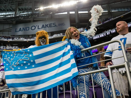 Oct 1, 2017; Minneapolis, MN, USA; Detroit Lions fans