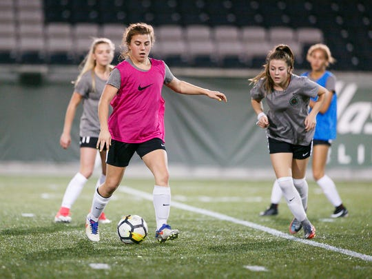 Blanchet's Emily Collier at a Thorns Academy soccer practice on Tuesday, Oct. 24, 2017, at Providence Park in Portland, Ore. Collier plays for the Portland Thorns Under-19 team, an elite soccer program for players under the age of 19.