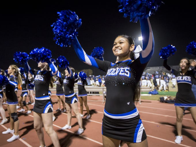 Chandler cheerleaders during the 6A quarter-final football