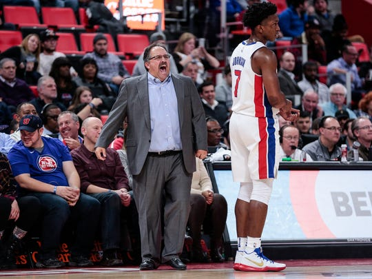 Pistons coach Stan Van Gundy reacts after being called a technical foul during the first half on Monday, Nov. 20, 2017, at the Little Caesars Arena.