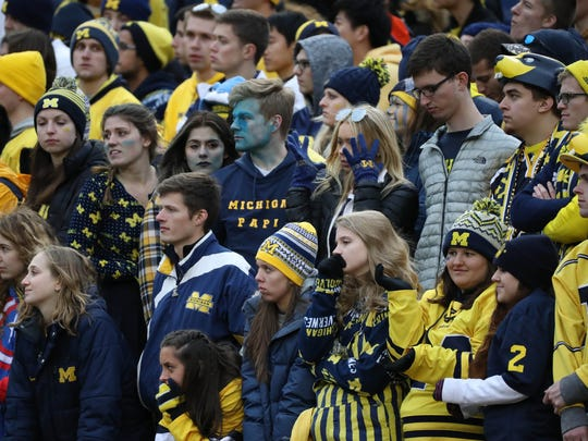 Michigan fans are quiet during the final seconds of the 31-20 loss to Ohio State on Saturday, Nov. 25, 2017 at Michigan Stadium.