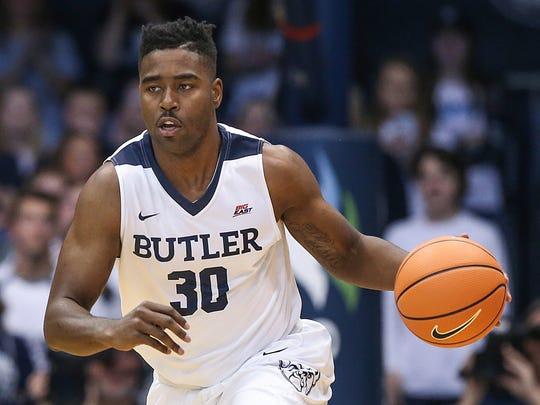 Butler Bulldogs forward Kelan Martin (30) moves the