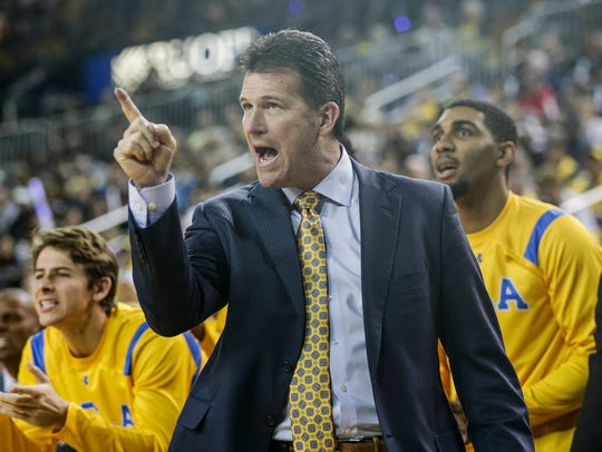 UCLA head coach Steve Alford reacts to a play during