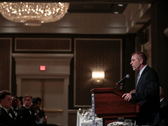 Ferris State University head football coach Tony Annese speaks during the National Football Foundation State of Michigan Chapter awards banquet at the Dearborn Inn in Dearborn on Dec. 10, 2017.