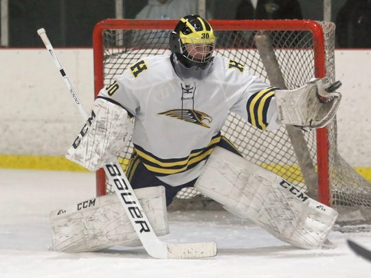Hartland goalie Brett Tome gave up three goals in the