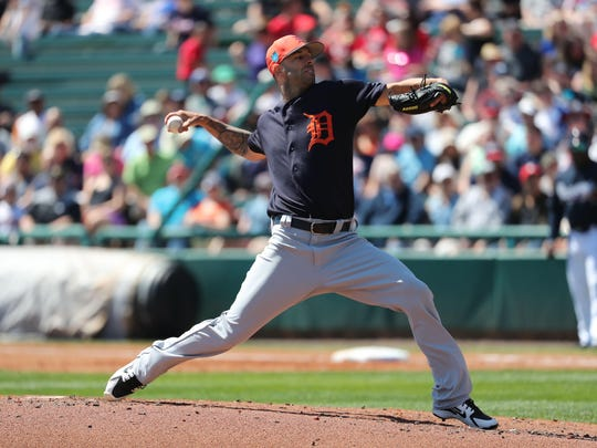 Tigers starting pitcher Mike Fiers (50) throws a pitch during the first inning of the Tigers' 8-1 loss to the Braves in an exhibition on Thursday, March 15, 2018, in Kissimmee, Fla.
