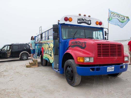 The Munchies Grub Bus sits on JP Lubby beach during