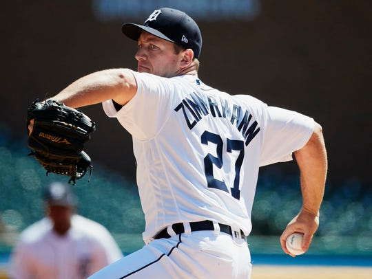 Tigers pitcher Jordan Zimmermann (27) pitches in the