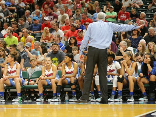 Indiana All-Star coach Pat McKee talks to his team
