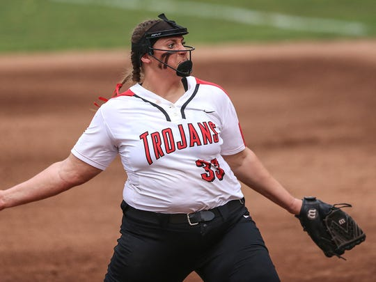 Center Grove Trojans Abby Herbst (33) pitches during softball regionals at Center Grove Middle School Central in Greenwood, Ind., Tuesday, May 29, 2018. Center Grove defeated Shelbyville, 2-0.