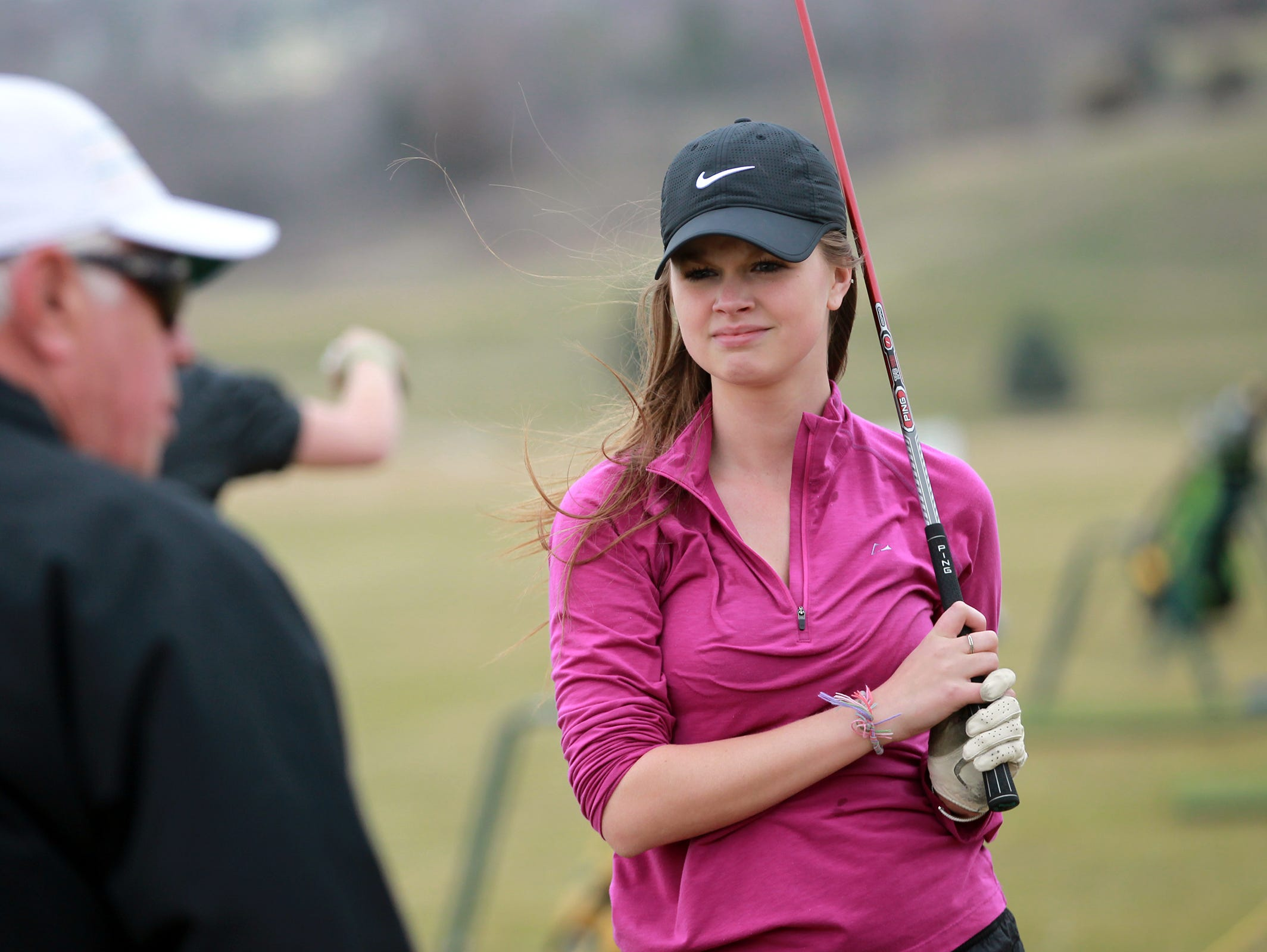 West High's Allye Boardman practices with teammates at the Brown Deer Golf Club in Coralville on Monday, April 6, 2015. David Scrivner / Iowa City Press-Citizen