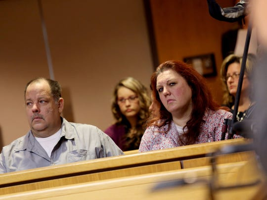 April Millsap's Stepfather David Lichtenfelt and her mother Jennifer Millsap listen in the courtroom as James D. VanCallis was arraigned and held without bond in the murder on July 24, 2014 of their daughter April Millsap, 14, of Armada on Thursday, October 9, 2014 at the 42-1 District court in Macomb County.