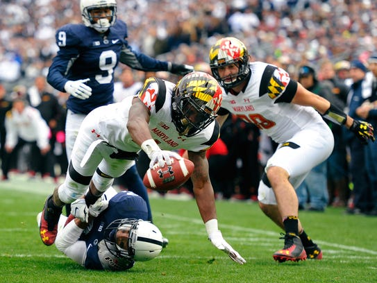 Maryland Terrapins wide receiver Stefon Diggs (1) dives