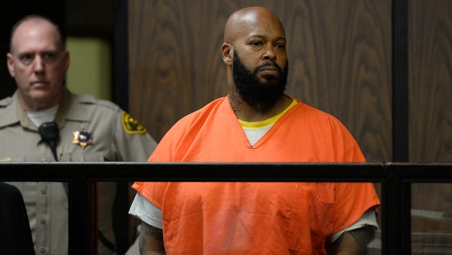 """Marion """"Suge"""" Knight appears in court during his arraignment, Tuesday, Feb. 3, 2015 in Compton, California."""
