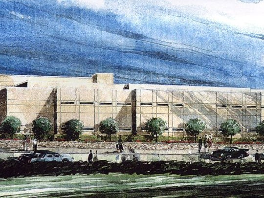 An artist's rendition created in 1998 of the yet-to-be-constructed Polk County Jail. Almost 10 years later, the jail is in need of a roof replacement and minor repairs.