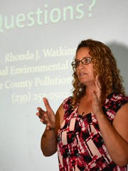 In this file photo, Rhonda Watkins lays out the science and history of red tide.