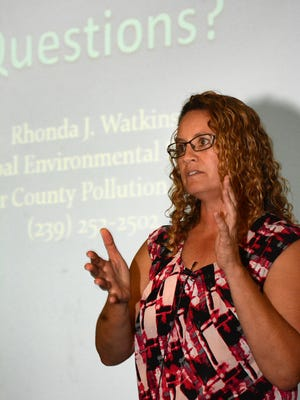 Rhonda Watkins, principal environmental specialist, lays out the science and history of red tide. Collier County's Pollution Control Division presented a program on dealing with red tide Tuesday evening at the South Regional Library.