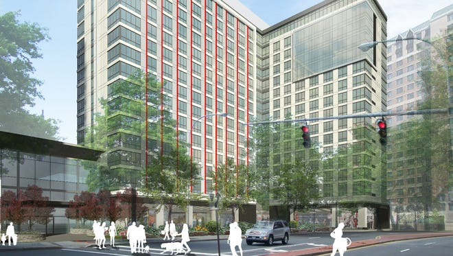 Rendering of the 55 Bank St. project, looking north.
