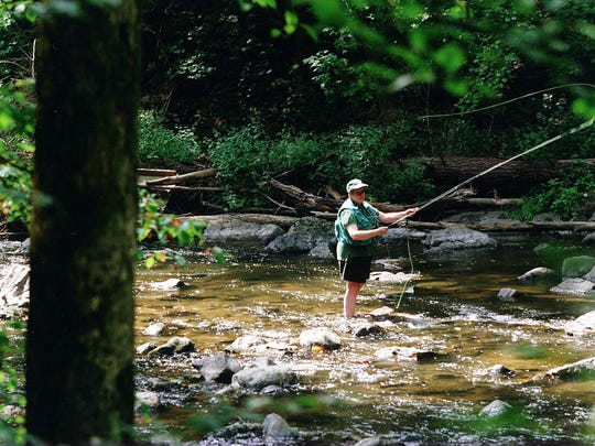 A fisherman in the South Branch of the Raritan River in Hunterdon County.
