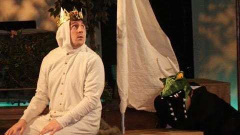 """Austin Kiley, left, is Max Monster King and Matt Gaska is Croc Monster in Cider Mill Playhouse's """"Tails of Kings (and Wild Things)."""""""