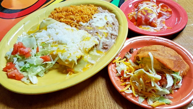 The combination plate ($10 for three items or $9 for two) comes with a choice of enchiladas, flauta, Chile con Carne (green or red), ground beef taco, gordita, tamale or a chile relleno.