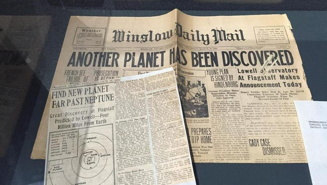"""This Winslow Daily Mail newspaper shows what it was like when news broke of a new planet discovered at Lowell Observatory. """"Pluto Palooza"""" is a week of activities planned to celebrate man's first contact with Pluto."""
