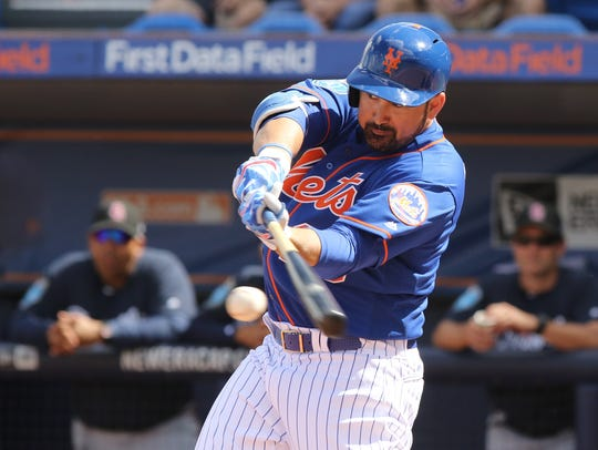 Adrian Gonzalez at bat in the first inning. The Mets