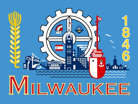 The official Milwaukee flag, adopted in the mid-1950s,