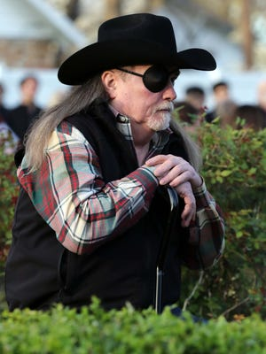 Charlie Rikard dedicated a brick to his horse that was killed by a motorist at the Memorial Garden in Phelps Grove Park in Springfield on April11, 2016.