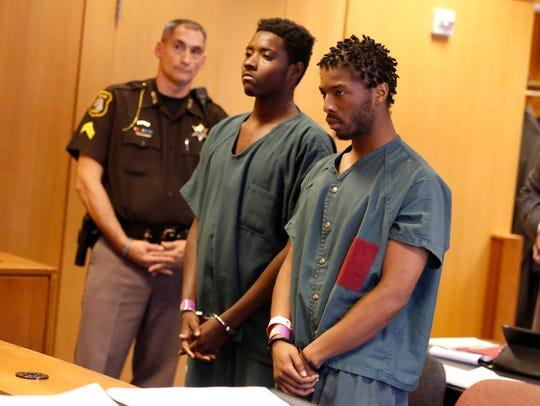 Defendants Jujaun Williams, left, and Charles Brown